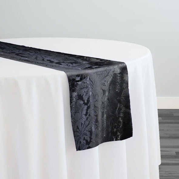 Damask Poly Table Runner in Black