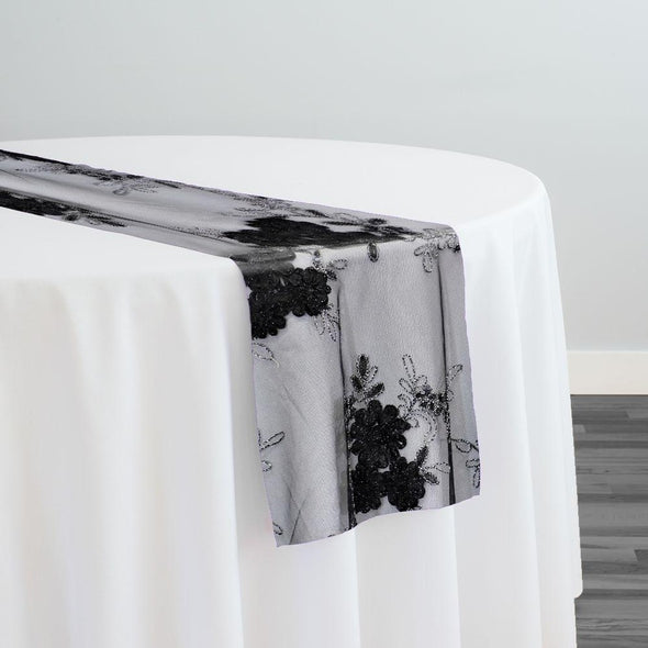 Ribbon Mesh Lace Table Runner in Black
