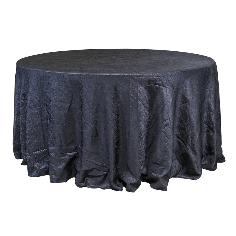 "Economy Crush Taffeta 132"" Round Tablecloth - Black"