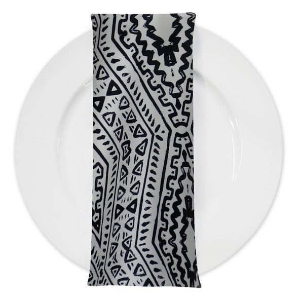 Aztec Print (Dupioni) Table Napkin in Black