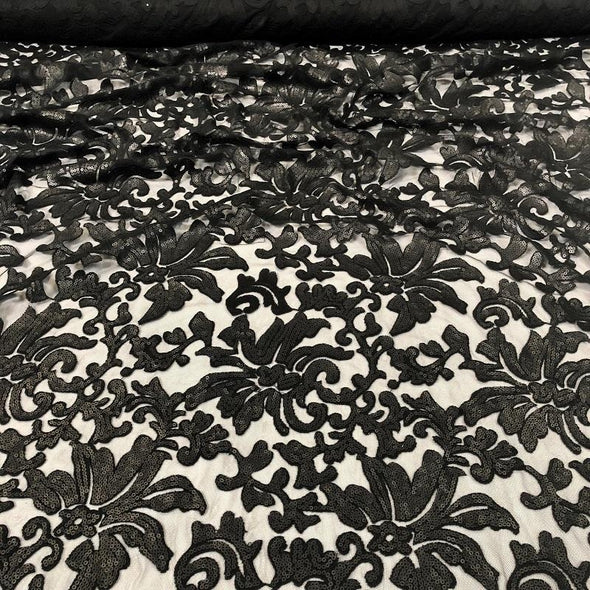 Milan Lace Table Linen in Black