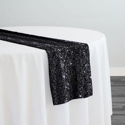 Taffeta Sequins Table Runner in Black