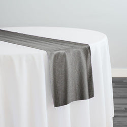 Metallic Burlap (100% Polyester) Table Runner in Black