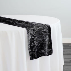 Austrian Wave Satin Table Runner in Black