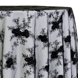 Baby Rose Embroidery Table Linen in Black