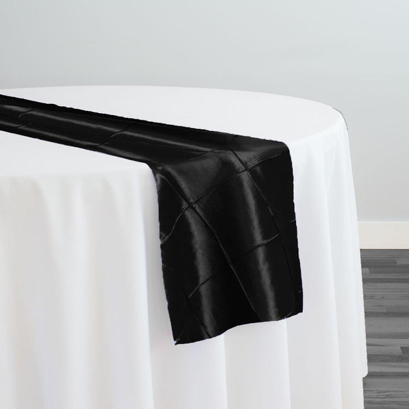 "4"" Pintuck Taffeta Table Runner in Black"