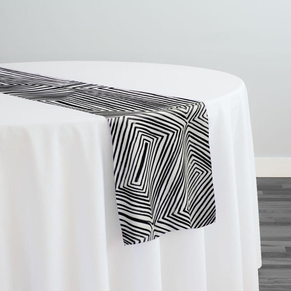 Modena (Poly Print) Table Runner in Black