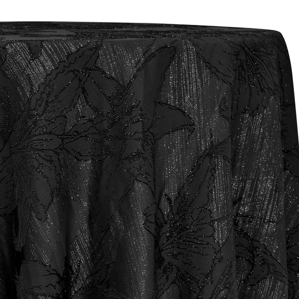 Floral Reef Jacquard Table Linen in Black