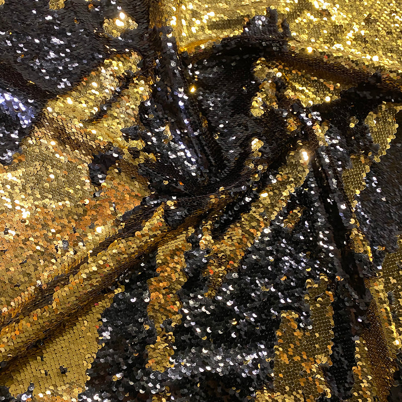 Two-Tone Sequins Table Runner in Black and Gold
