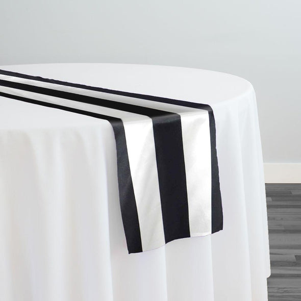 "2"" Satin Stripe Table Runner in Black and White"