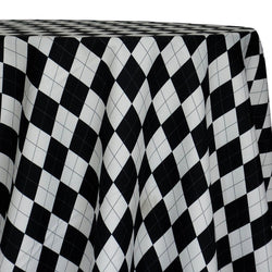 Argyle (Poly Print) Table Linen in Black and White