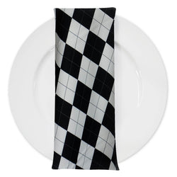 Argyle (Poly Print) Table Napkin in Black and White