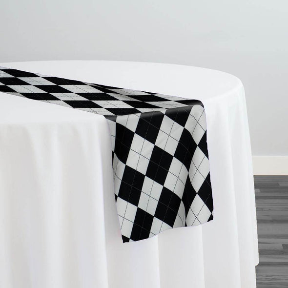Argyle (Poly Print) Table Runner in Black and White