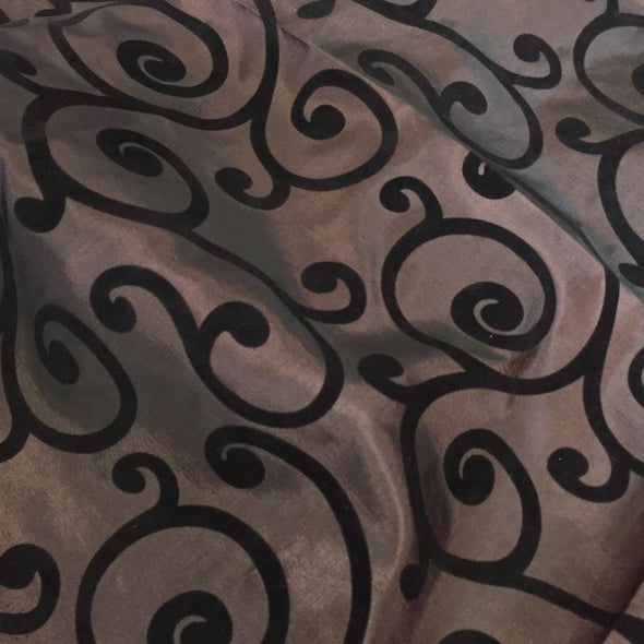 Swirl Flocking Taffeta Table Runner in Black on Brown