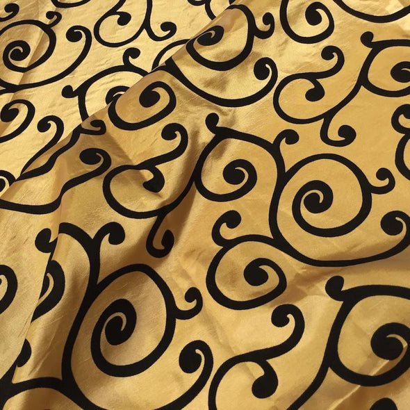 Swirl Flocking Taffeta Wholesale Fabric in  Black on Gold