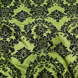 Damask Flocking Taffeta Table Linen in Black on Olive