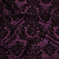 Damask Flocking Taffeta Table Linen in Black on Plum