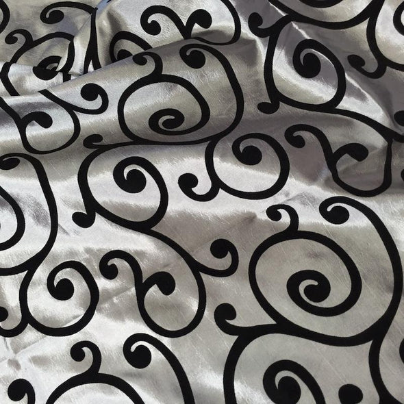 Swirl Flocking Taffeta Wholesale Fabric in  Black on Silver