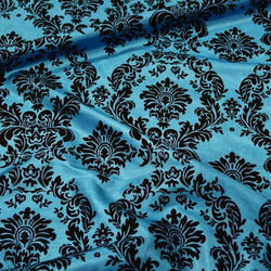 Damask Flocking Taffeta Table Linen in Black on Turquoise