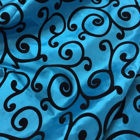 Swirl Flocking Taffeta Table Runner in Black on Turquoise
