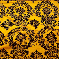 Damask Flocking Taffeta Table Linen in Black on Yellow