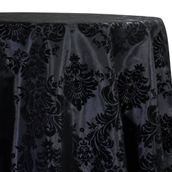 Damask Flocking Taffeta Table Linen in Black on Black