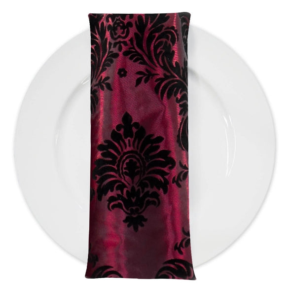 Damask Flocking Taffeta Table Napkin in Black on Burgundy