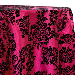 Damask Flocking Taffeta Table Linen in Black on Fuchsia