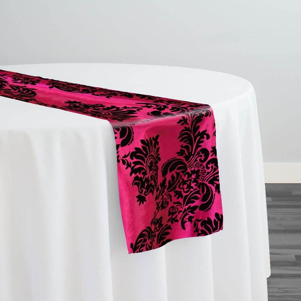 Damask Flocking Taffeta Table Runner in Black on Fuchsia