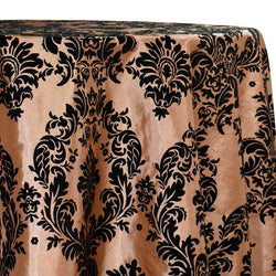 Damask Flocking Taffeta Table Linen in Black on Gold