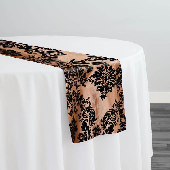 Damask Flocking Taffeta Table Runner in Black on Gold