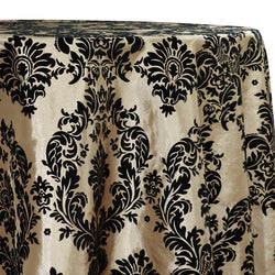 Damask Flocking Taffeta Table Linen in Black on Ivory