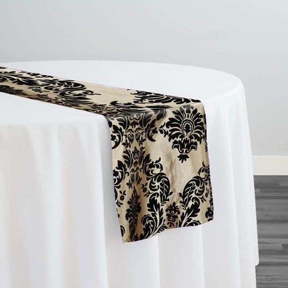 Damask Flocking Taffeta Table Runner in Black on Ivory