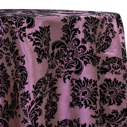 Damask Flocking Taffeta Table Linen in Black on Pink