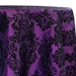 Damask Flocking Taffeta Table Linen in Black on Purple