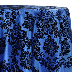 Damask Flocking Taffeta Table Linen in Black on Royal