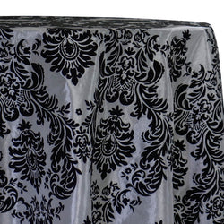 Damask Flocking Taffeta Table Linen in Black on Silver