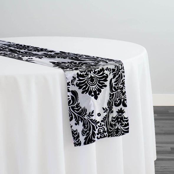Damask Flocking Taffeta Table Runner in Black on White