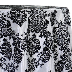 Damask Flocking Taffeta Table Linen in Black on White