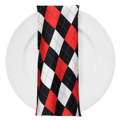 Argyle (Poly Print) Table Napkin in Red Black and White