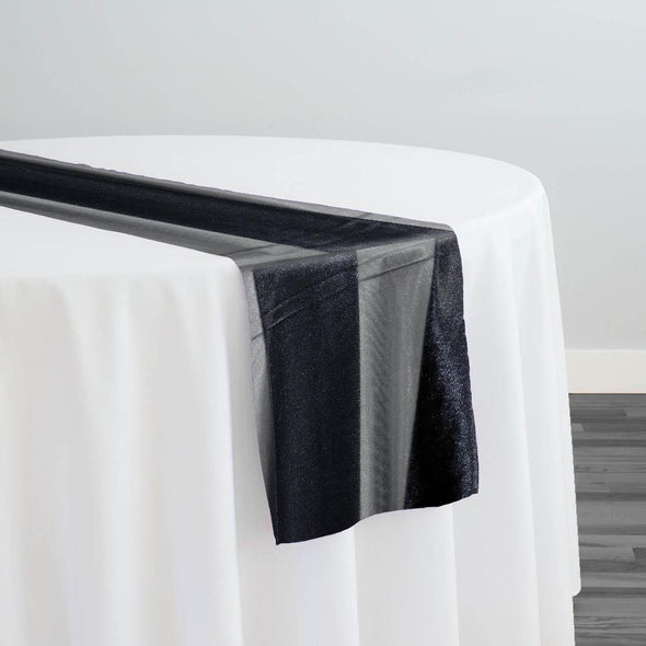 Velvet Stripe Table Runner in Black