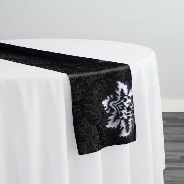 Regency Damask Sheer Table Runner in Black