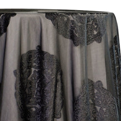 Medallion Jacquard Sheer Table Linen in Black