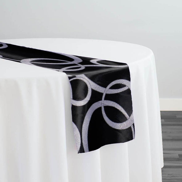 Cirque Jacquard (Reversible) Table Runner in Black