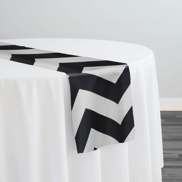 Chevron Print (Lamour) Table Runner in Black and White