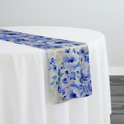 Blue Flora (Poly Print) Table Runner