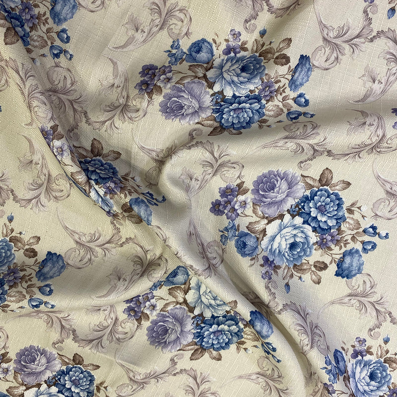 French Floral Table Napkin in Blue