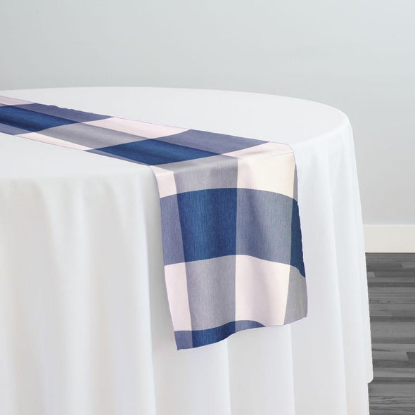 Hampton Checker (Poly Print) Table Runner in Blue