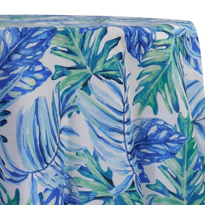 Tropical Print (Dupioni) Table Linen in Blue