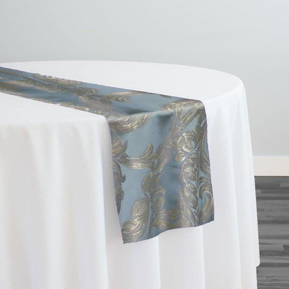 Florence Jacquard Table Runner in Blue